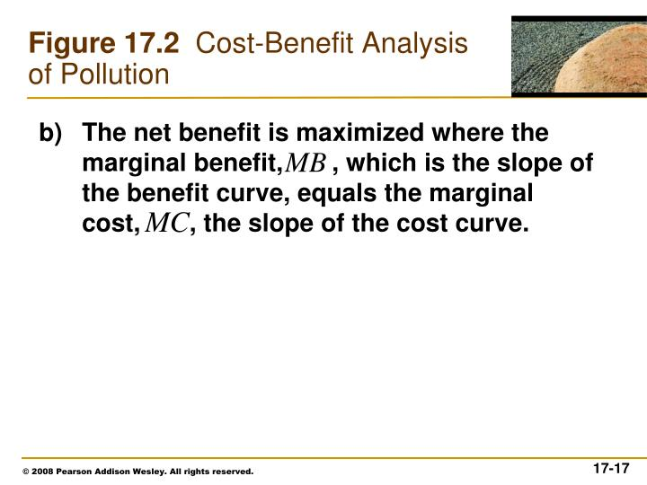 The net benefit is maximized where the marginal benefit,       , which is the slope of the benefit curve, equals the marginal cost,       , the slope of the cost curve.