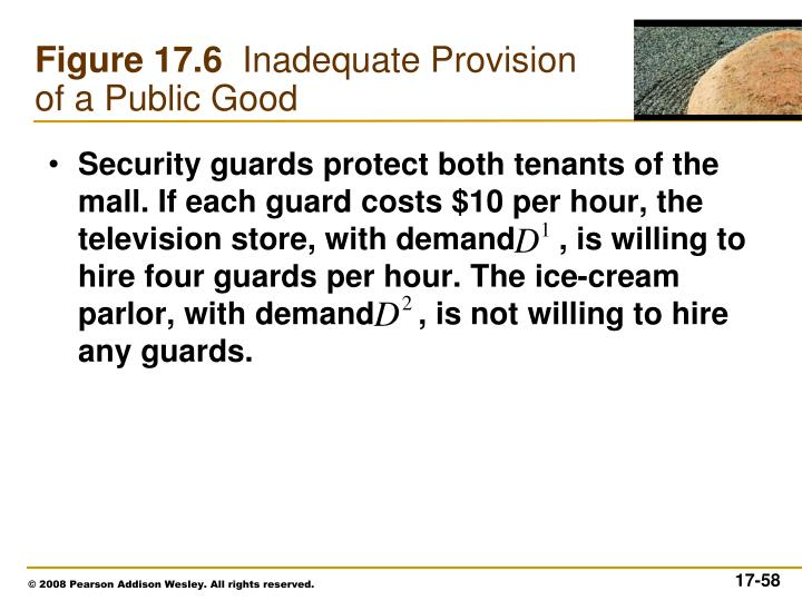 Security guards protect both tenants of the mall. If each guard costs $10 per hour, the television store, with demand     , is willing to hire four guards per hour. The ice-cream parlor, with demand     , is not willing to hire any guards.