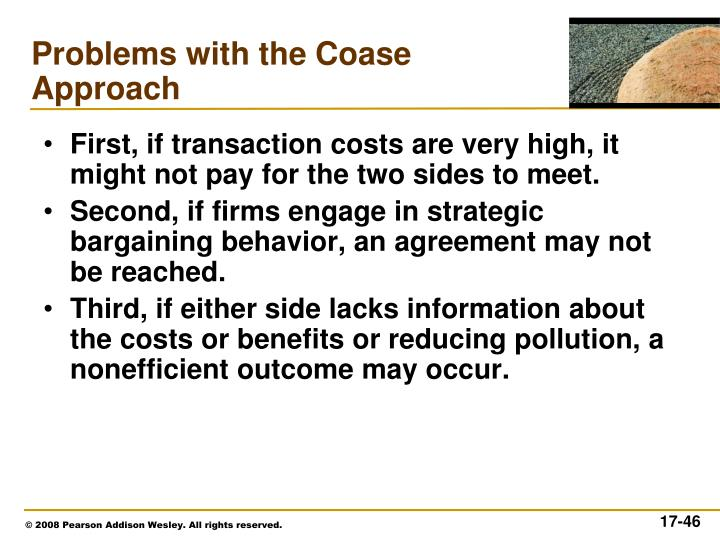 First, if transaction costs are very high, it might not pay for the two sides to meet.