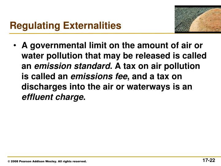 A governmental limit on the amount of air or water pollution that may be released is called an