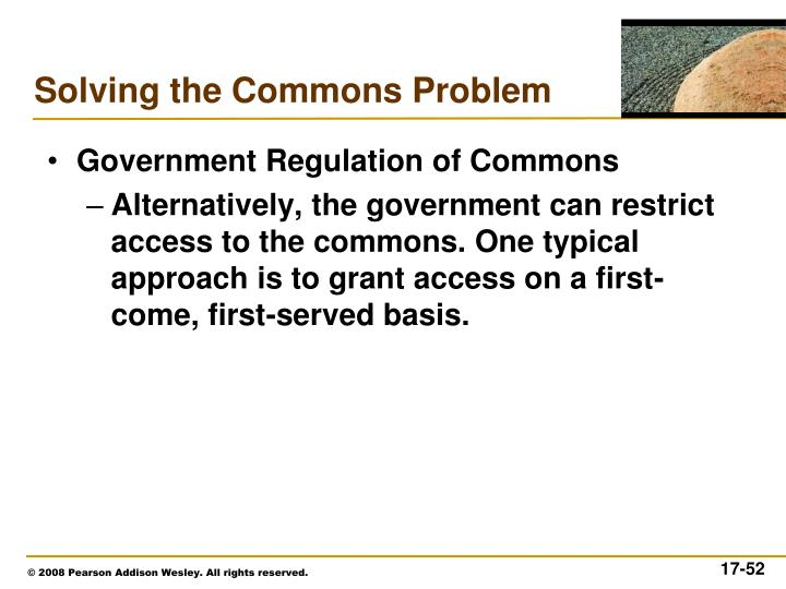 Government Regulation of Commons