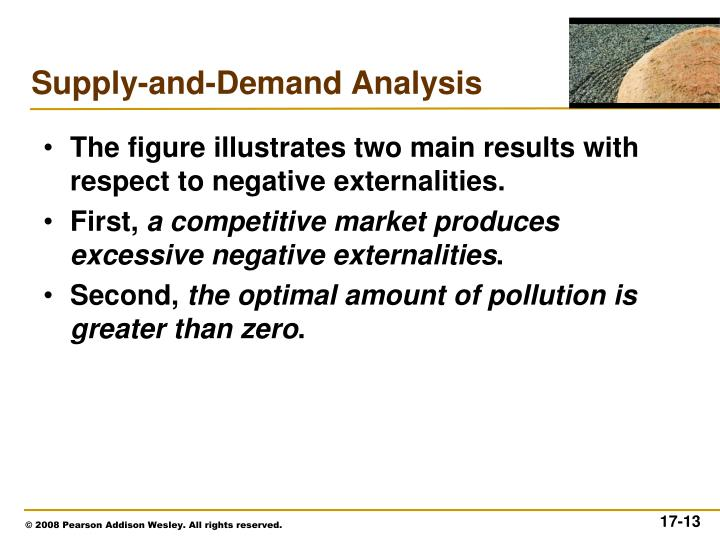 The figure illustrates two main results with respect to negative externalities.