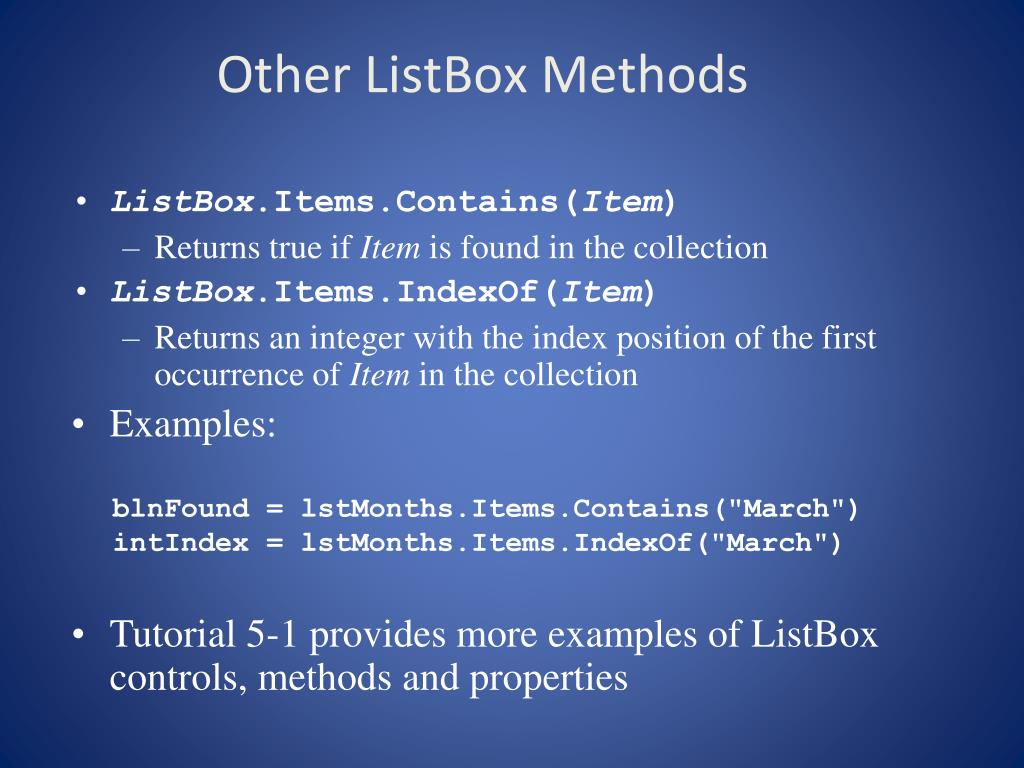 Other ListBox Methods