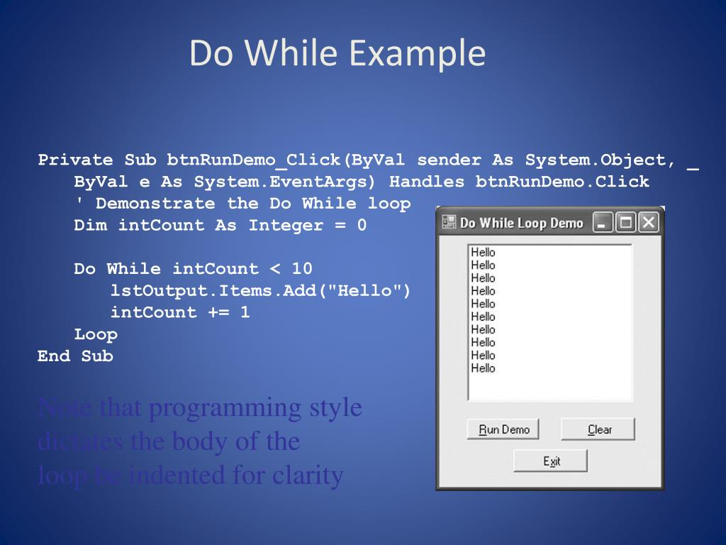 Do While Example