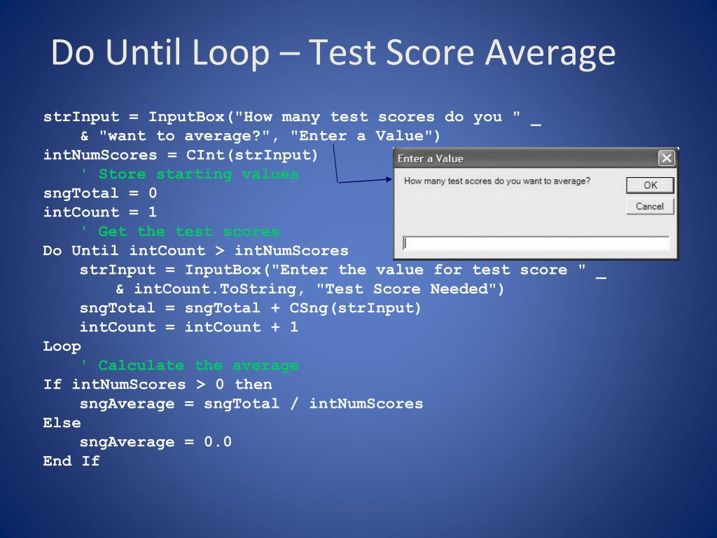 Do Until Loop – Test Score Average
