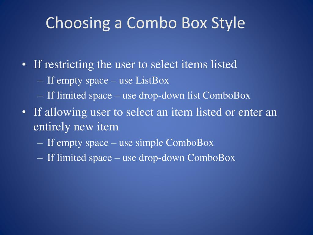 Choosing a Combo Box Style
