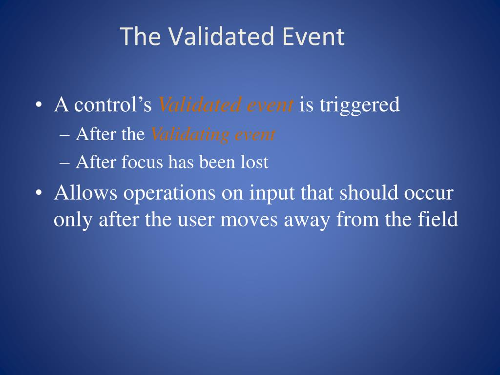 The Validated Event