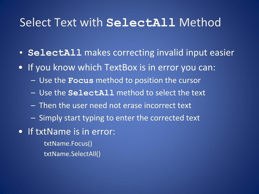Select Text with