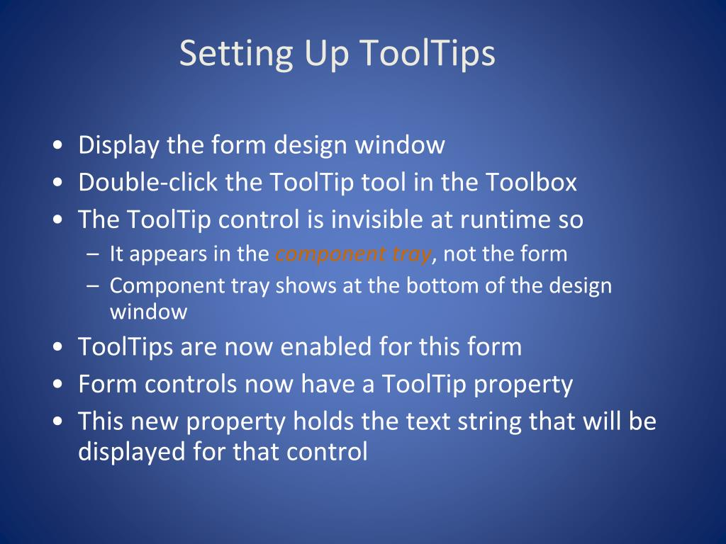 Setting Up ToolTips