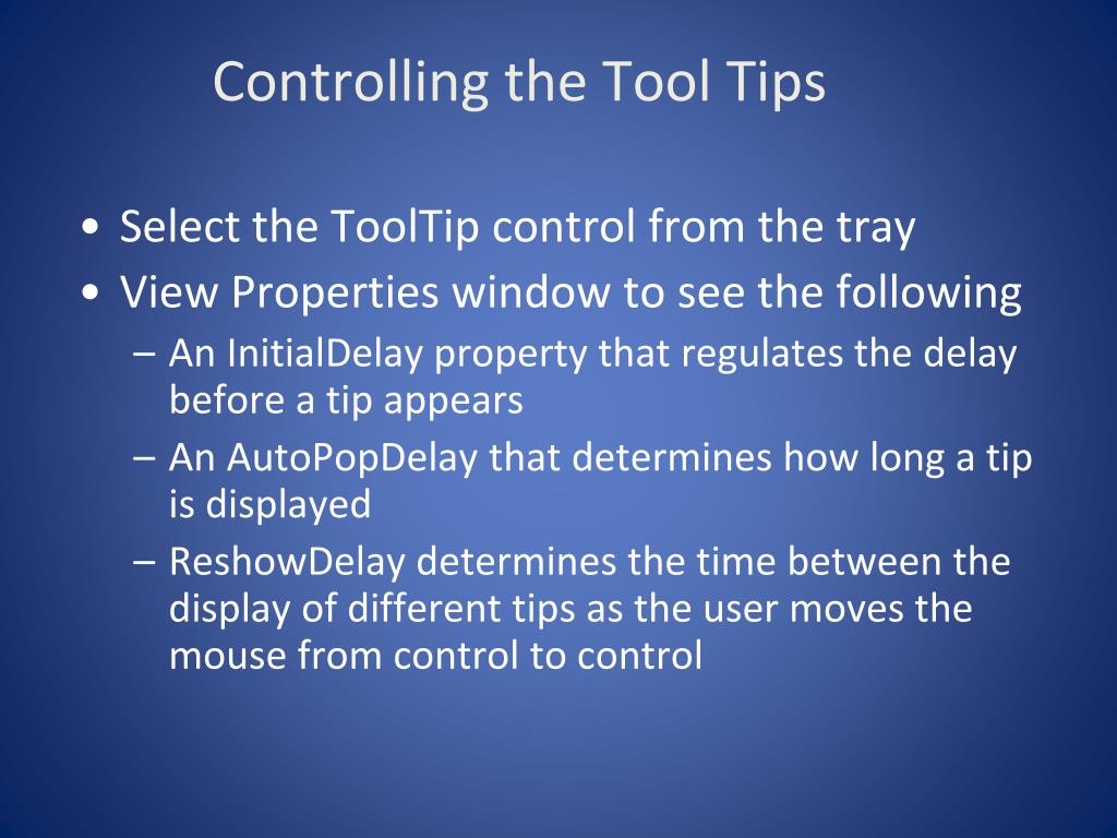 Controlling the Tool Tips