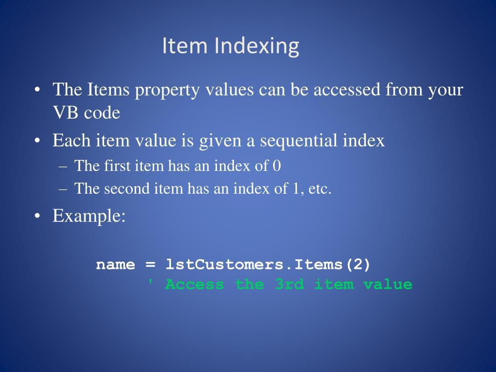 Item Indexing