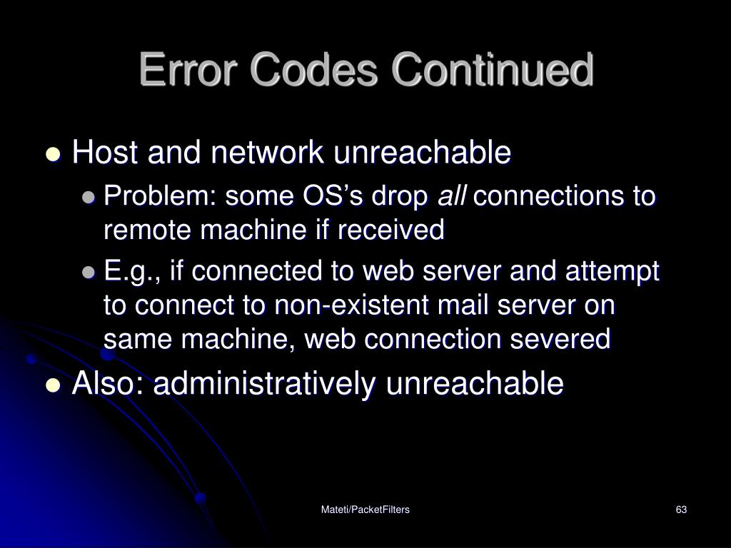 Error Codes Continued