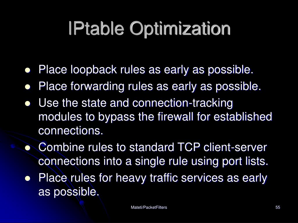 IPtable Optimization