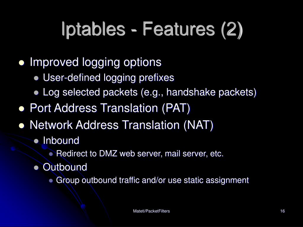Iptables - Features (2)