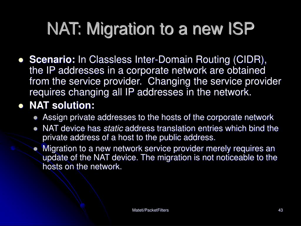 NAT: Migration to a new ISP