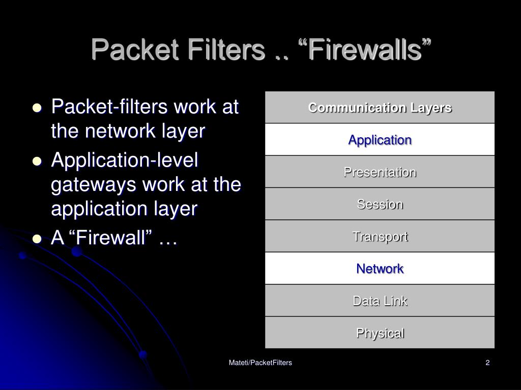 "Packet Filters .. ""Firewalls"""