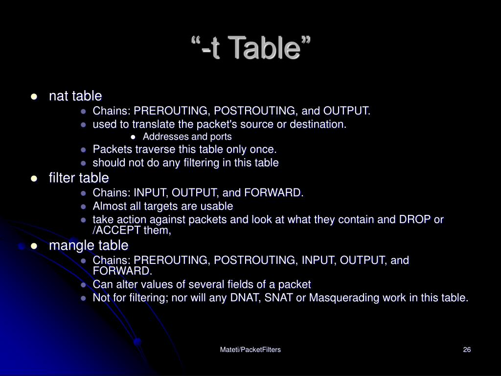 """""""-t Table"""""""