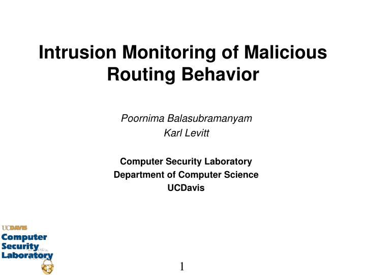 Intrusion monitoring of malicious routing behavior