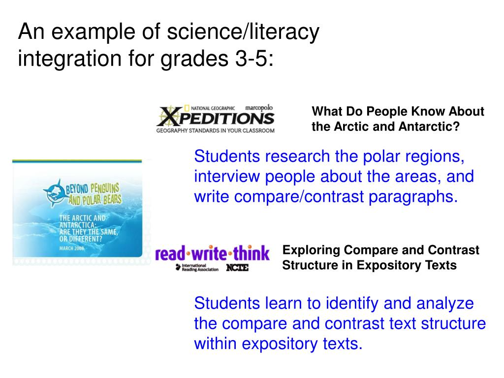 An example of science/literacy integration for grades 3-5: