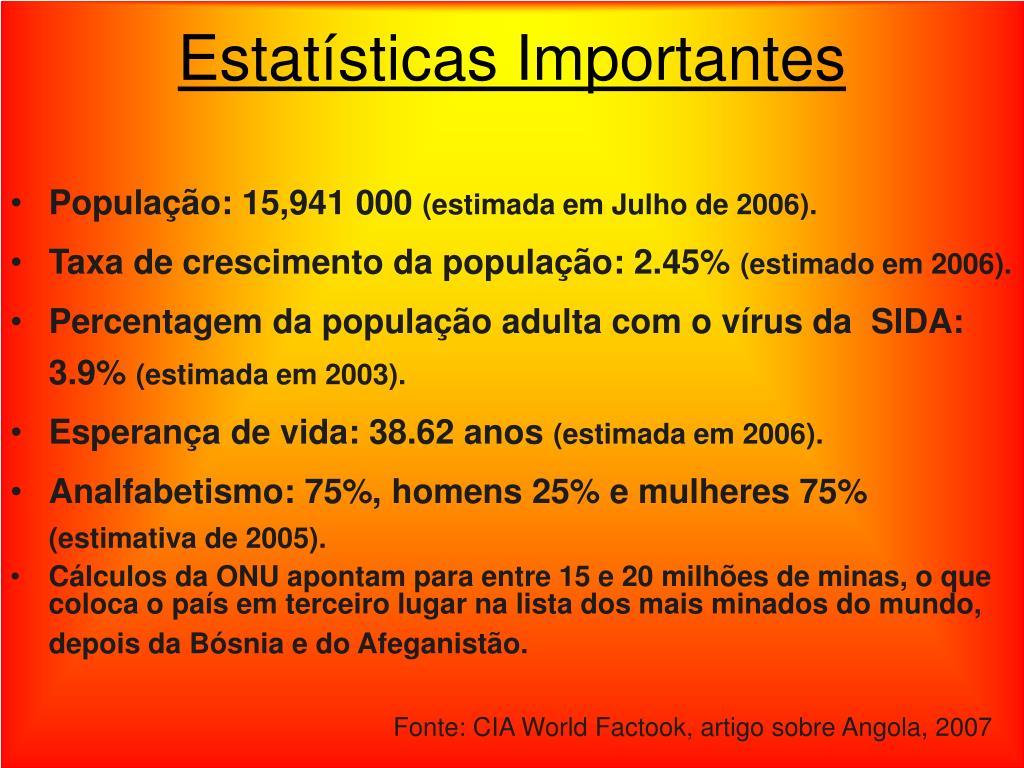 Estatísticas Importantes