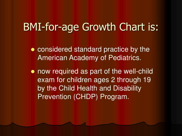 Bmi for age growth chart is
