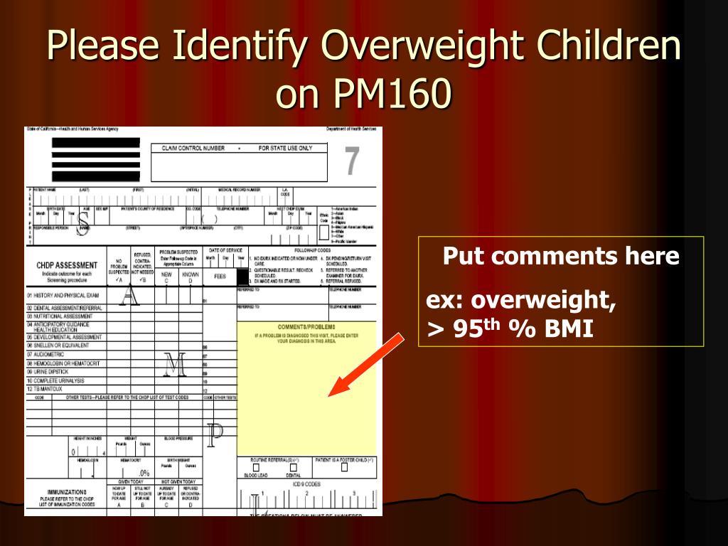 Please Identify Overweight Children on PM160