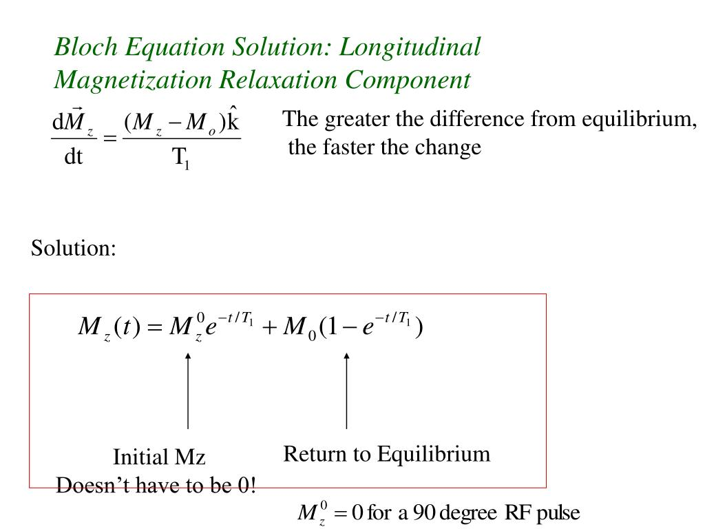 Bloch Equation Solution: Longitudinal Magnetization Relaxation Component