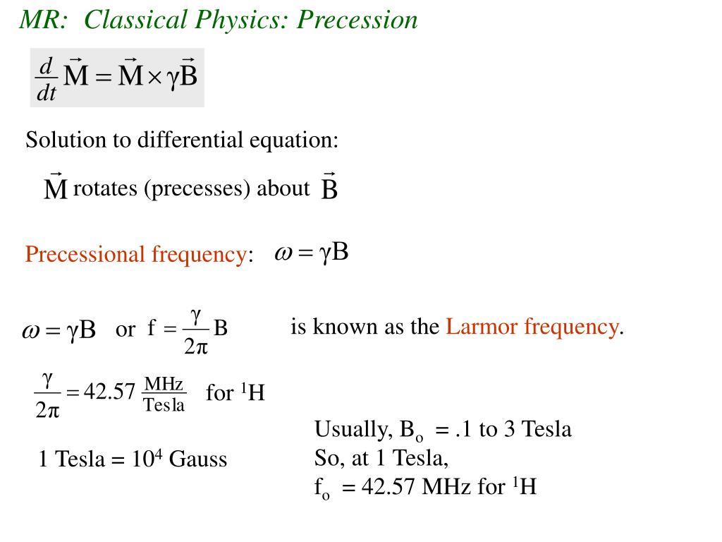 MR:  Classical Physics: Precession