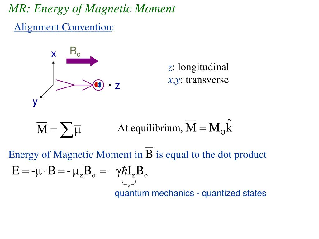 MR: Energy of Magnetic Moment