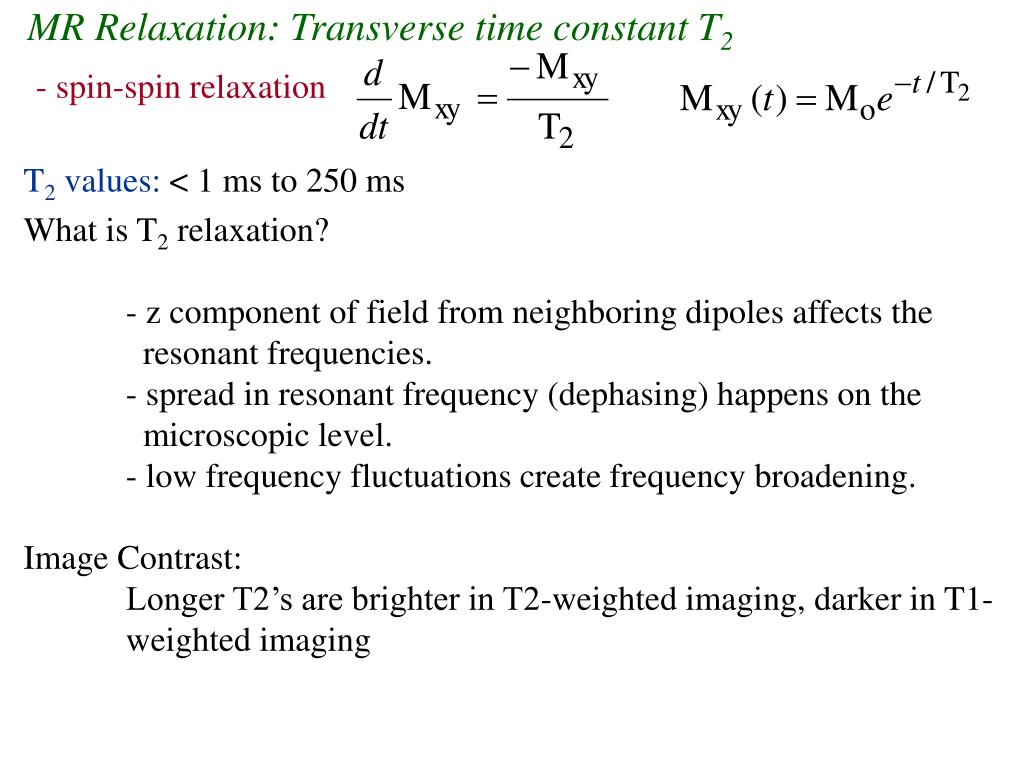 MR Relaxation: Transverse time constant T