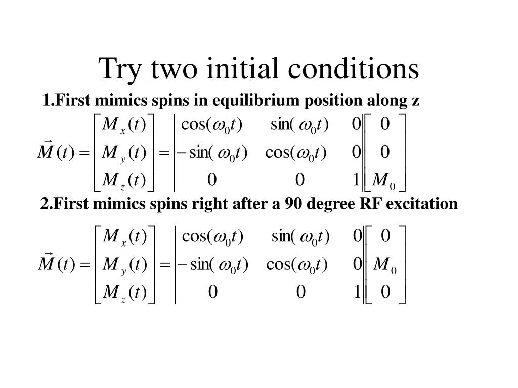 Try two initial conditions