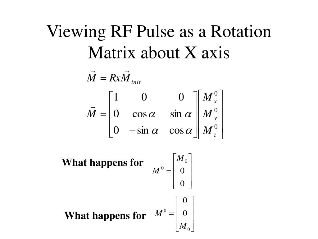 Viewing RF Pulse as a Rotation Matrix about X axis
