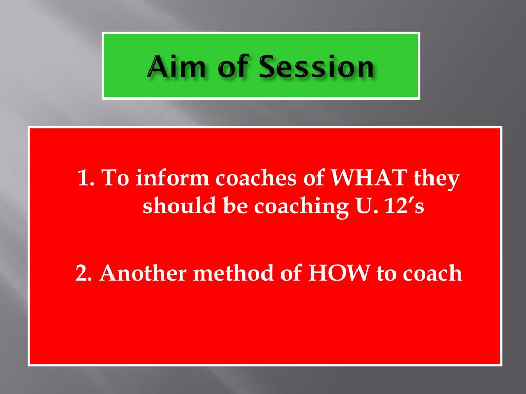 Aim of Session