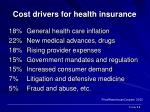 cost drivers for health insurance