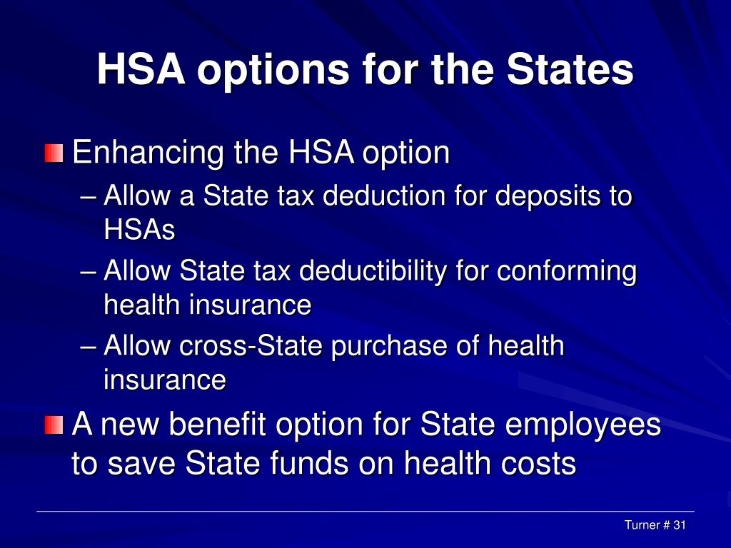 HSA options for the States