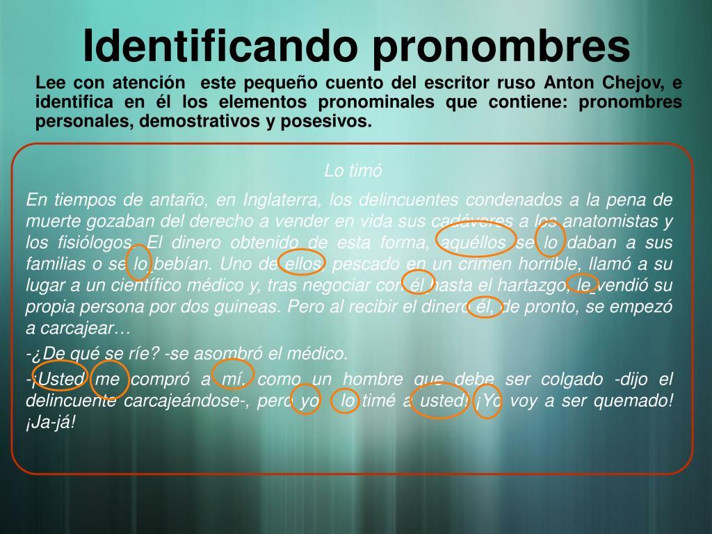 Identificando pronombres