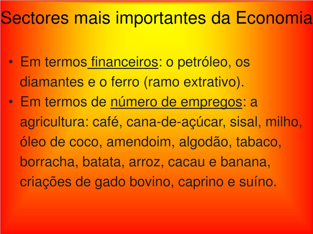 Sectores mais importantes da Economia