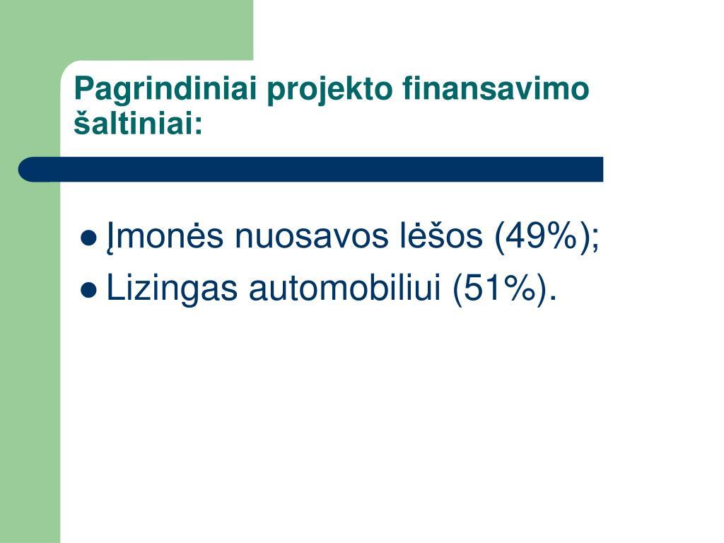 Pagrindiniai projekto finansavimo šaltiniai:
