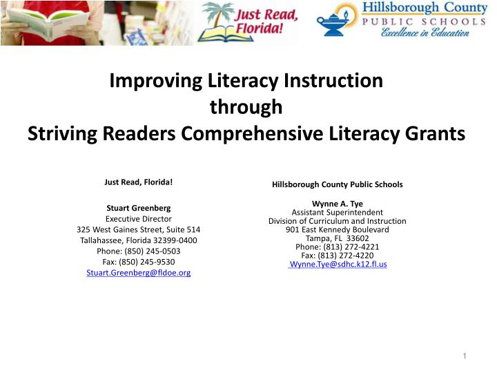 Improving literacy instruction through striving readers comprehensive literacy grants l.jpg