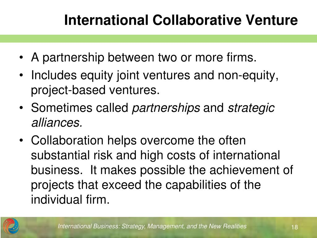 int 601 business venture A joint venture is a business enterprise undertaken by two or more persons or organizations to share the expense involvement in the private business environment has created more opportunities for companies to engage in domestic and international joint ventures bibliography choi, cheng-bum.