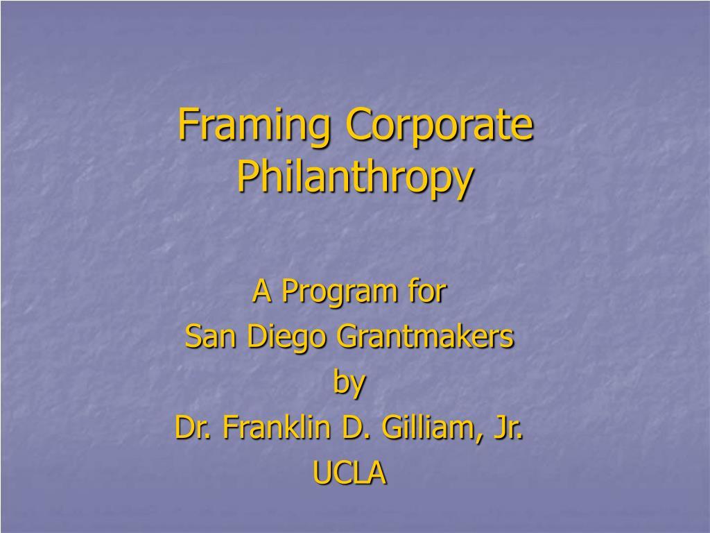 framing corporate philanthropy
