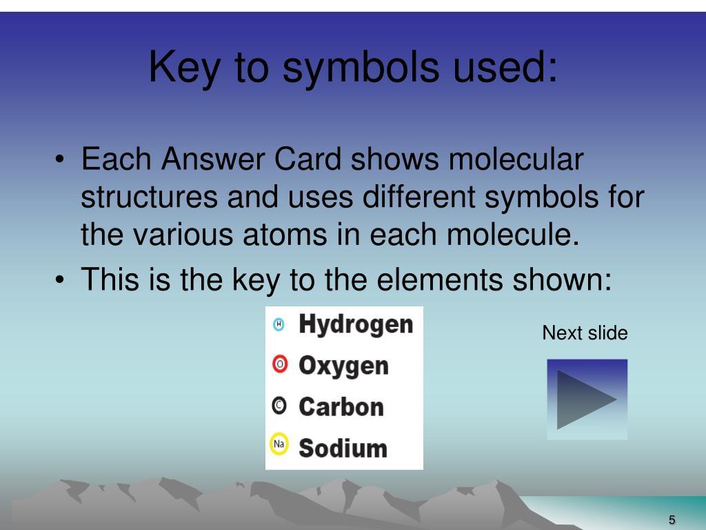 Key to symbols used: