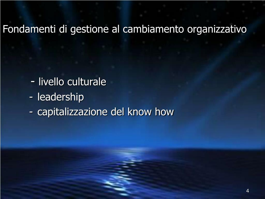 Fondamenti di gestione al cambiamento organizzativo
