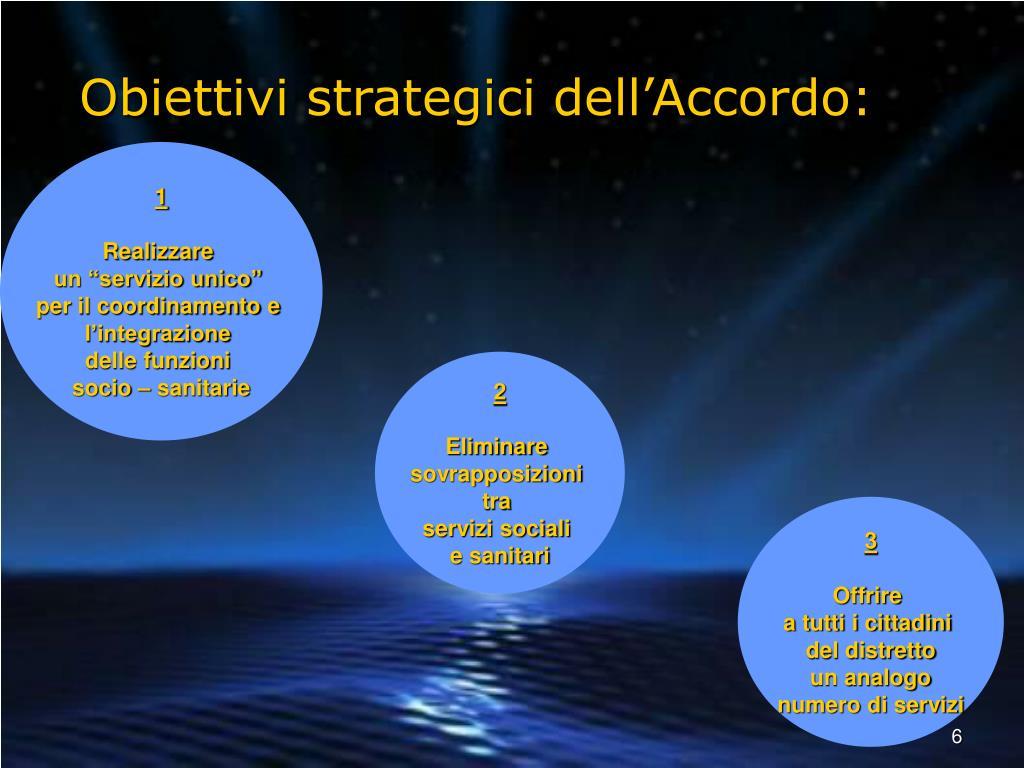 Obiettivi strategici dell'Accordo: