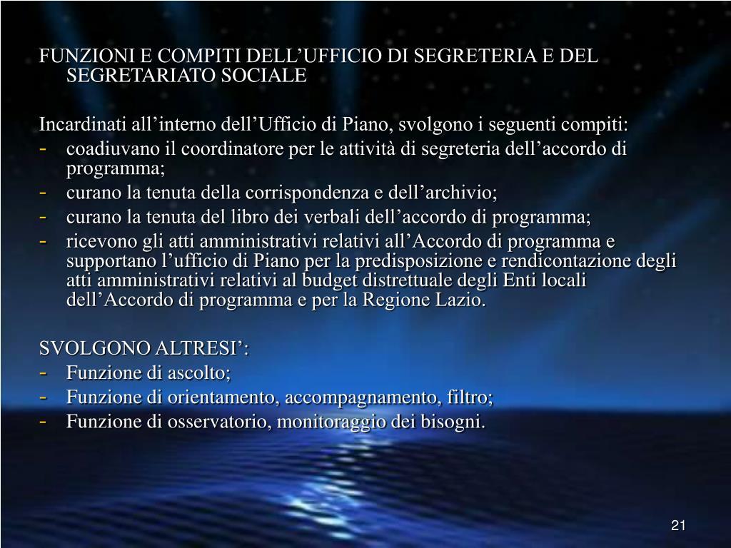 FUNZIONI E COMPITI DELL'UFFICIO DI SEGRETERIA E DEL SEGRETARIATO SOCIALE