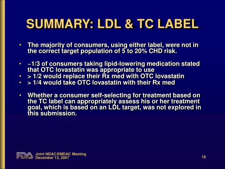 SUMMARY: LDL & TC LABEL