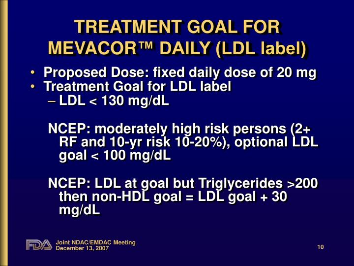 TREATMENT GOAL FOR MEVACOR