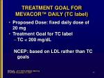 treatment goal for mevacor daily tc label
