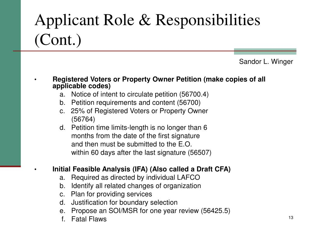Applicant Role & Responsibilities (Cont.)