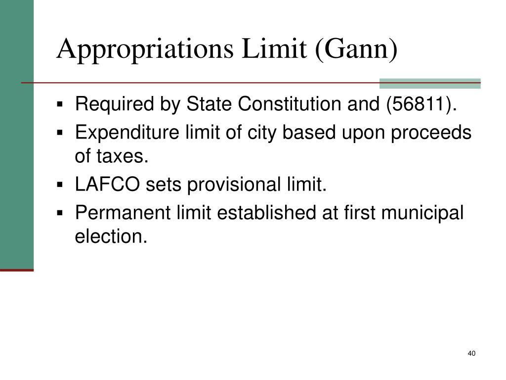 Appropriations Limit (Gann)